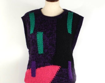 Sweater Vest 1980s Vintage Short Sleeve Graphic