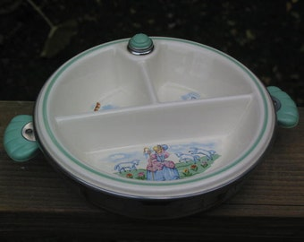 vintage Child Baby insulated warmer divided bowl Plate Little Bo Peep lamb calico cat & white dog