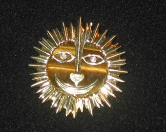 sale - Sun, Sun Mr. Golden Sun hand hammered 14k gold smiling Sun & tiger eye Pendant with diamond eyes heart nose