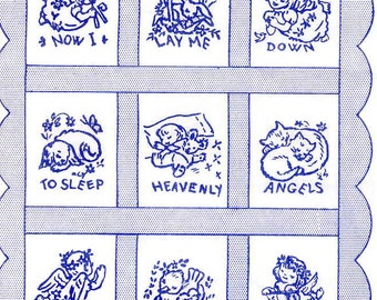 1960s Hand Embroidery pattern 7397 Now I Lay Me Down To Sleep for a Quilt PDF instant Download