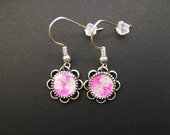 AMBROSIA AFFORDABLES 13 x13 mm Earrings Silver Pink