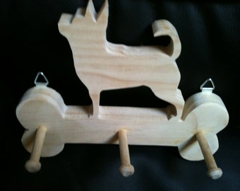 Wooden handmade Chiuahua leash holder