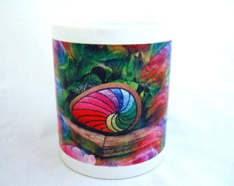 Colorful Unique Rainbow Colored Ceramic Coffee Mug Pink Flower Mug Delightful Gift Idea for Her Office Gift Birthday Unusual Gift for Him