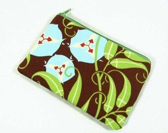 Nigella Twill Passion Vine Brown coin purse, credit card pouch