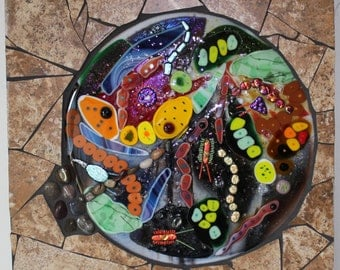 CLEARANCE SALE:  Stained Glass, Fused Glass, Origin of Life, Earth, Cosmos, Abstract, Genesis, Evolution, Primordial Soup, Colorful