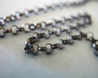 Shop Sale..5 feet, Oxidized Sterling Silver Chain, Rolo Chain, Round Links, 2.0 mm, antique vintage bulk  SS.. S51..ox .1.