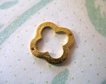 Shop Sale..1 2 5 pc, Gold Quatrefoil Clover Links Connectors Pendants Charms, 24k Gold Vermeil, 15 mm, 2 holes, Brushed - nquad15 art only