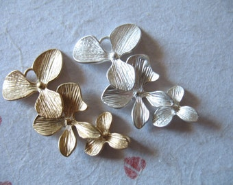 Shop Sale..10 pcs, ORCHID Links Connectors Pendants Charms, MATTE, Orchid Flower, Price Discount, 34x18 mm, Silver Gold Brass ts tg
