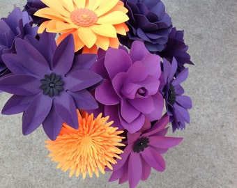 Paper flower set of 12 stems in purple and orange mix of different flowers