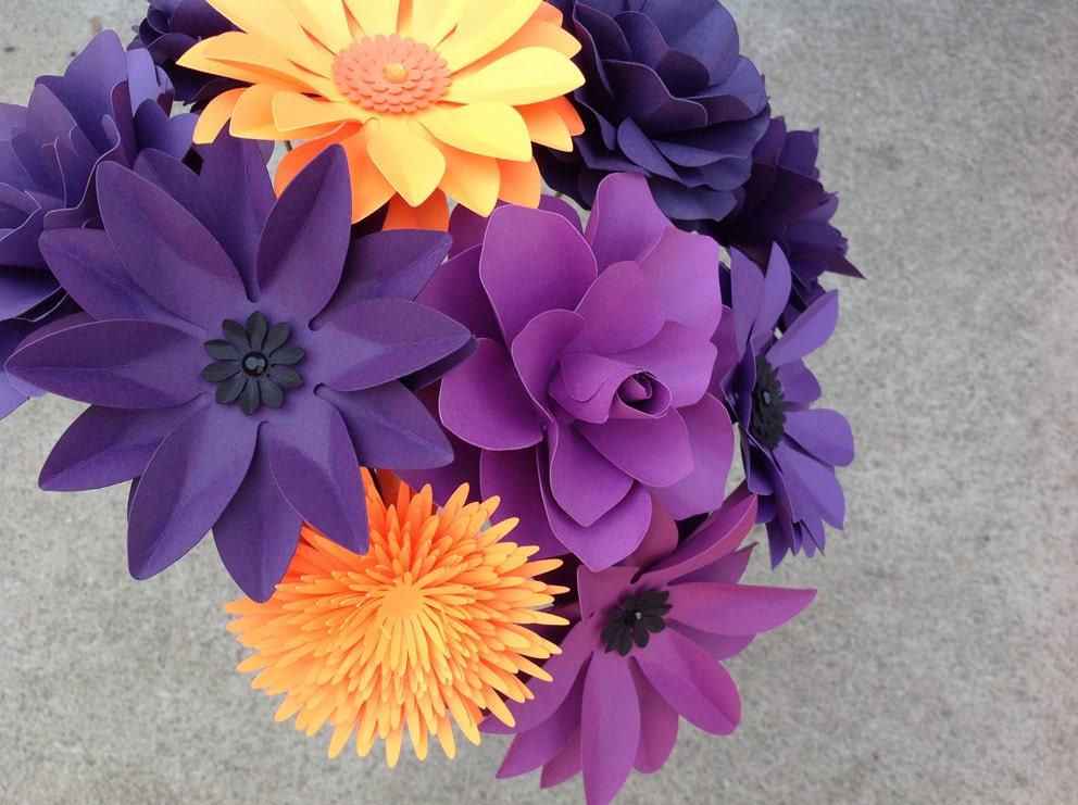 paper flower set of 12 stems in purple and orange mix of. Black Bedroom Furniture Sets. Home Design Ideas