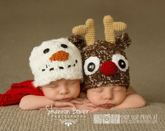Reindeer Christmas Newborn Photo Props, Holiday Hat Photography Prop, Baby Props, Newborn Prop, Photo Props, Handmade Hat, Baby Boy, Girls