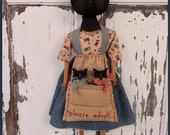PRIMITIVE FOLK ART Mama Cat Doll with Kittens in Antique Apron Pocket 1930s Fabric and Feedsack Fabric