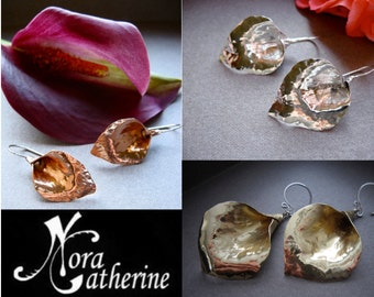 Md-XS Hammered Lily Earrings in Copper, Bronze or Sterling