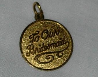 Vintage Vermeil Bridesmaid Charm or Pendant by Rembrandt