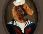 Dachshund Art Doxie Dachshund Sailor Animal Photo Pet Portrait Nautical Dog Veterinarian Art Gift for Dog Lover 8x10 PRINT - Sailor Charli