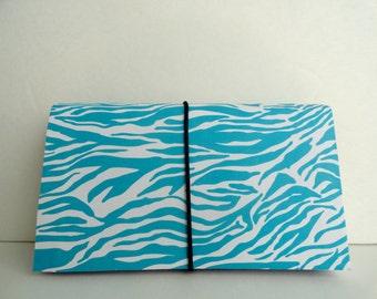 Coupon Organizer  Accordion File Book Lite Blue Chevron Stripes