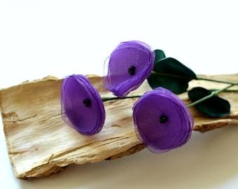 Handmade flowers with stems- set of 3 pcs- PURPLE