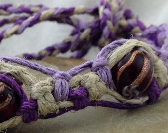 Hemp Macrame Bracelet, Anklet or Choker - Natural, Purple and Lavender - Beaded - Adjustable - 6 to 11 Inches