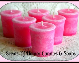 PLUMERIA FLOWER Scented Votive Candles - Handmade Votive Candle - Highly Scented - Pink Candle - Set Of 6 In Gift Box - Hand Poured In USA -