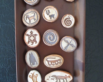 Collection of 15 Assorted Petroglyph Animals Refrigerator Magnets