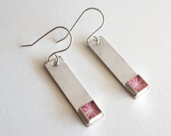 Sterling Silver Bar Earrings with Peach Paper Bead / Paper Jewelry / Paper Earrings / Modern Minimalist / Gifts for Her / First Anniversary