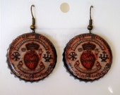 Sacred Heart Old Map Upcycled Bottle Cap Earrings