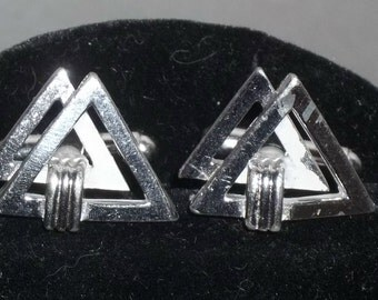 Vintage Modernist Silver Tone Double Triangle Cuff Links Cufflinks