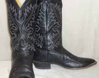 Vintage Mens Nocona Leather Cowboy Western Boots 9 1/2D Black