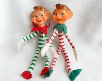 vintage pixies elves, made in Japan, candy-stripe clothes, vintage Christmas