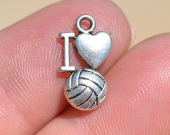 BULK 20 Silver Volleyball Charms SC2028