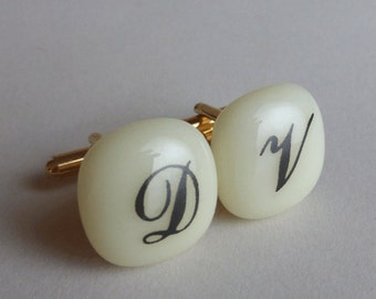 Monogrammed Cufflinks - Black initials on ivory glass