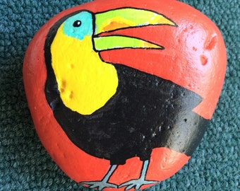 Toucan painted rock paperweight