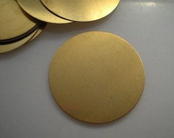 "12 flat round brass discs/ 1-3/4"" stamping blanks"