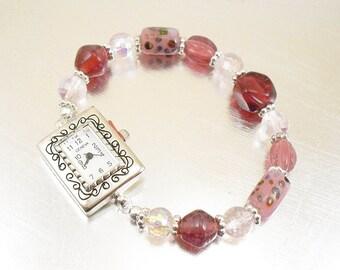 Pink and Raspberry Glass Stretchy Bracelet Watch