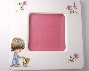 PINK CERAMIC CHILDHOOD frame, marked Moppets, vintage 1977, kitschy Americana childhood frame, charming and sweet