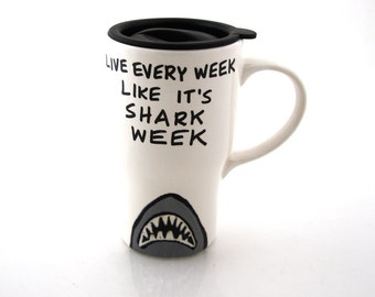 Shark week ceramic travel mug