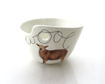 Yarn bowl, knit bowl, wool lamb, white sheep,  crochet bowl, great gift for mom, crafters, knitters and sheep barbers