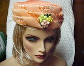 Reserved- Linda  Orange linen pill box hat with netting and raffia woven and front deco- fits 22 inches