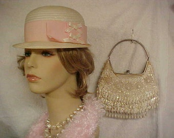 White cloche hat with pink bows and a beaded purse-or if you want just the Hat or just the purse