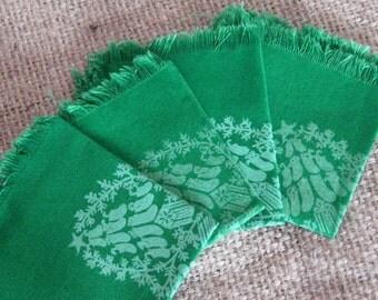 Christmas Cocktail Napkins - Set of 4 - Green