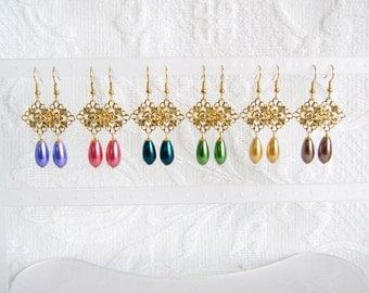 Gold Filigree and Pearl Teardrop Earrings, Choice of 12 Colors