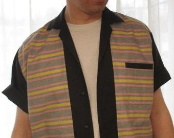Men's Rockabilly Shirt Jac Vintage Stripe Fifties Style