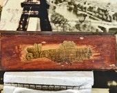 CHARMING vintage pencil box...  pencil box...  school days...  home decor...  school house...   t2   L