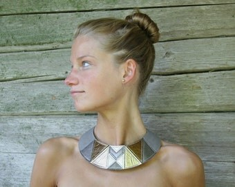 Tribal Choker Leather Choker Necklace Gold Gray Metallic Leather Statement Necklace