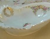 CHARMING - ORNATE Porcelain Trinket Dish - Soap Dish - Vintage - Austria - M Z - 1950 Era (Credit Cards Accepted)