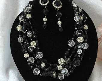 Retro Graziano Crystal Set, Clear & Black Mixed Beads, Quality Heavy Glass Crystals, Excellent Condition
