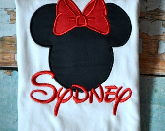 Red Minnie Mouse Girls shirt, Girls Disney Shirt, Girls Disney Birthday