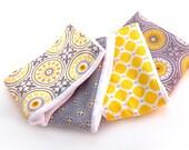 Gray & Yellow Baby Burp Cloths -  Geometric- Set of 4