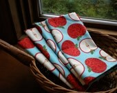 Red Apples on Turquoise Napkins-set of 4 -All Cotton-Ladies gift