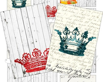 Crazy crowns for cards, ACEO, ATC, scrapbook and more Digital Collage Sheet 3 X 2 inch No.1466